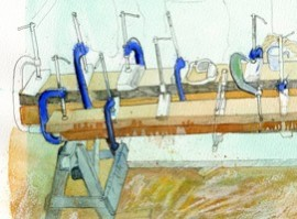 Drawing of several pieces of wood being glued and clamped together.