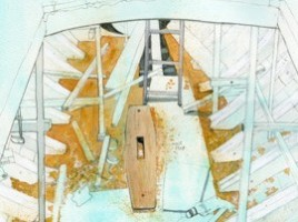 Drawing of the view through the hatch opening of Luke welding.