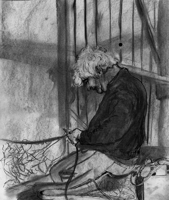 Drawing of a man cutting out the fishing nets.