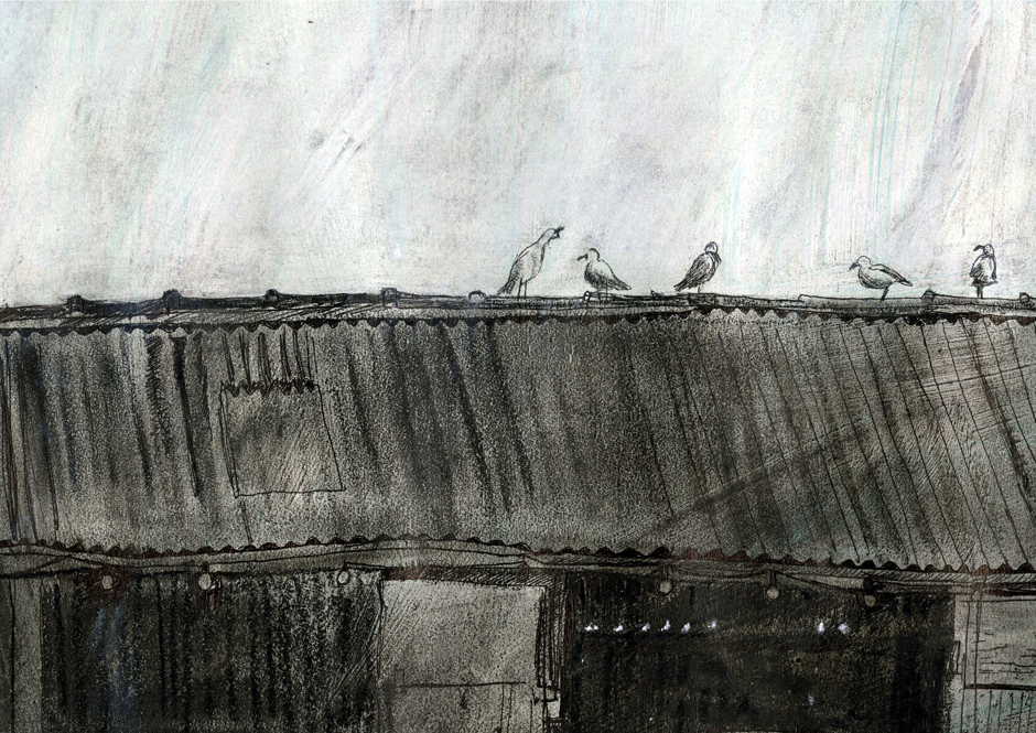 Drawing of seagulls on the corrugated roof of a shed where someone is welding.
