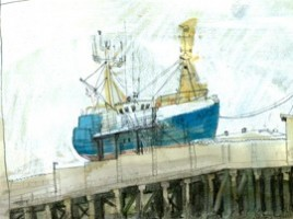 Drawing of a fishing boat on the slip.