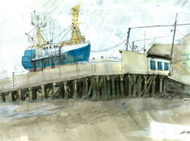 drawing of a trawler on the slip for repairs