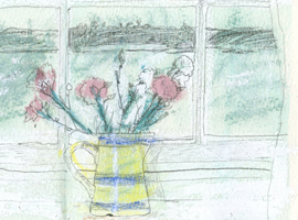 drawing of a vase of carnations on a window sill.