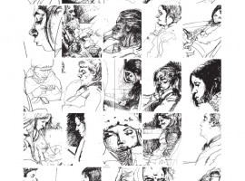 Collage of sketches of commuters