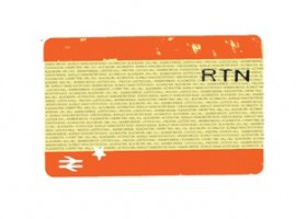 Back cover of the newspaper Seven Thirty Eight with an image of the return half of the train ticket from the train.