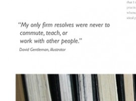 A quote of David Gentleman and photograph of the spines of sketchbooks