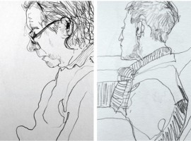 pencil sketches of passengers on a train