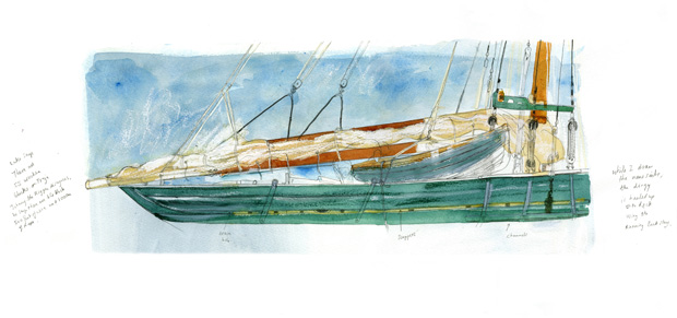 drawing of the pilot cutter Freja fitted with new sails