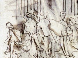 Drawing of Prisoners by Ronald Searle