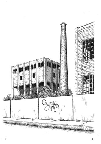 Drawing of derelict and abandoned  factories