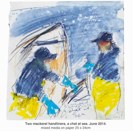 drawing of two fisherman in yellow oilskins